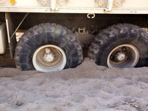 Military Truck Stuck in Sand