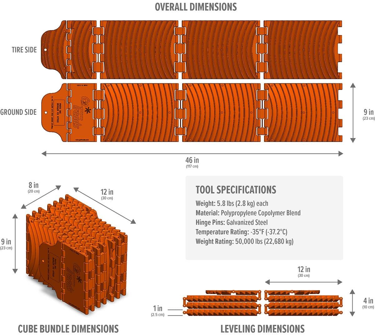 Standard GoTreads Dimensions
