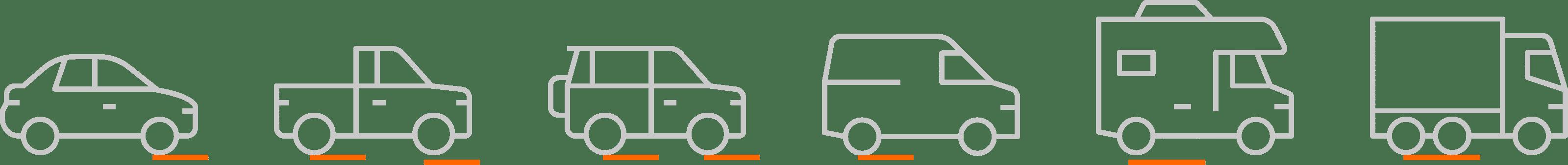 Line of vehicle illustrations using GoTreads